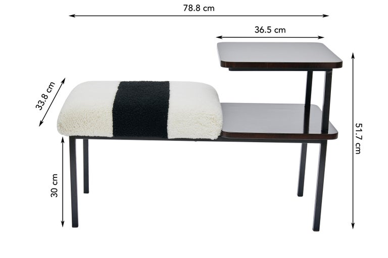 Hand-Crafted Deco Table Seat Lacquered Wood Side Table Combined Sheepskin Stool or Ottoman For Sale