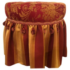 Deco Upholstered Tufted Red and Gilt Decorated Ottoman or Footstool
