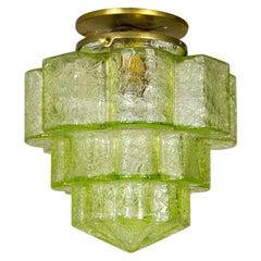 Deco Uranium Textured Lime Glass Step Flush Mount