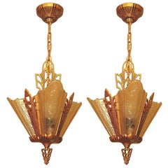 Deco Vintage Ceiling Lights with 3 Amber Slip Shades