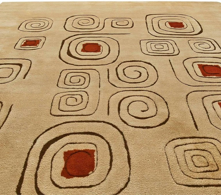 Mid-Century Modern Mid Century Art Deco Beige & Red Wool Rug 'Churos' Signed by Olga Fisch For Sale