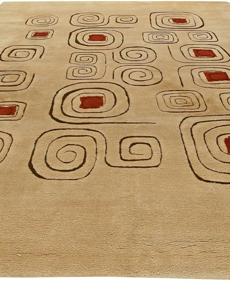 Ecuadorean Mid Century Art Deco Beige & Red Wool Rug 'Churos' Signed by Olga Fisch For Sale