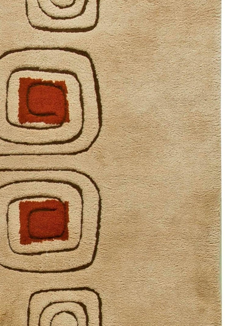 Hand-Knotted Mid Century Art Deco Beige & Red Wool Rug 'Churos' Signed by Olga Fisch For Sale