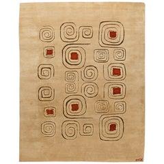 Mid Century Art Deco Beige & Red Wool Rug 'Churos' Signed by Olga Fisch