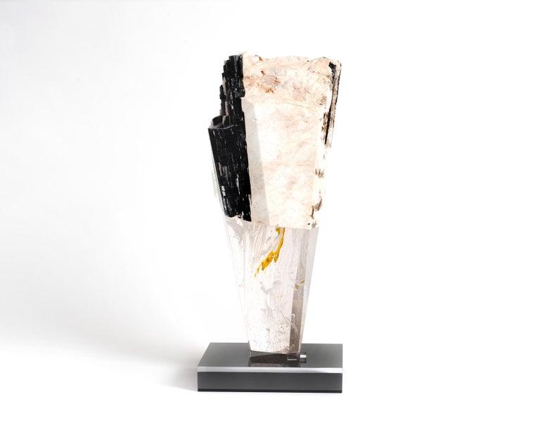 Mexican Deco, White Feldspar, Black Tourmaline and Glass Fusion Faceted Sculpture For Sale