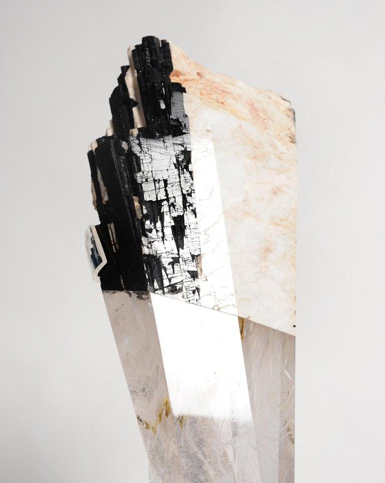 Deco, White Feldspar, Black Tourmaline and Glass Fusion Faceted Sculpture In New Condition For Sale In Naucalpan, Edo de Mex