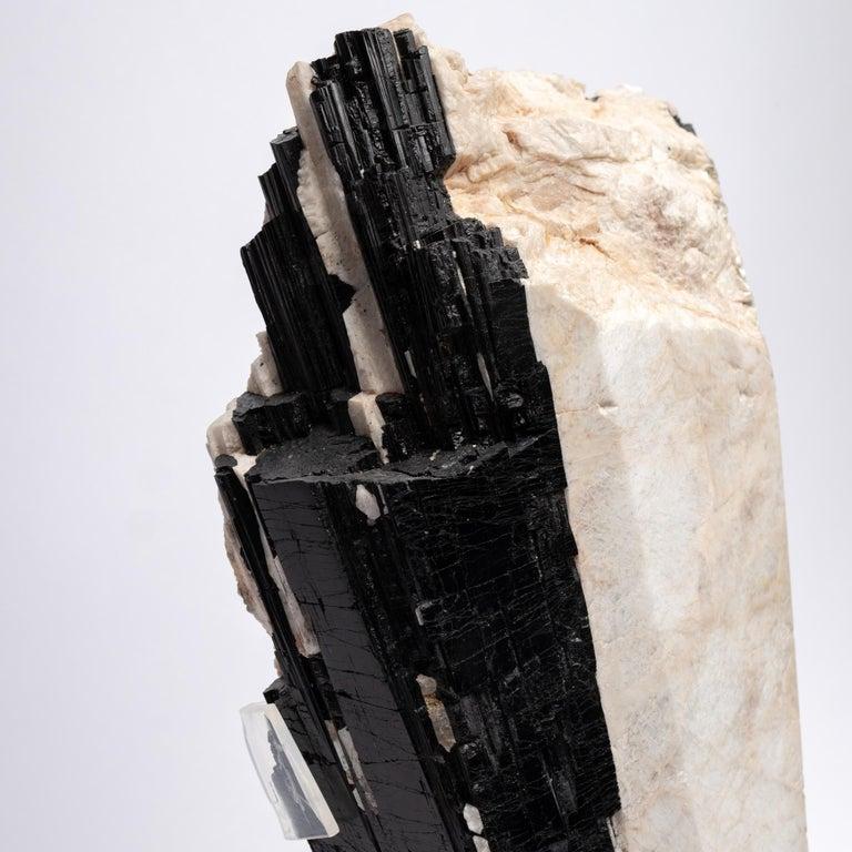 Contemporary Deco, White Feldspar, Black Tourmaline and Glass Fusion Faceted Sculpture For Sale