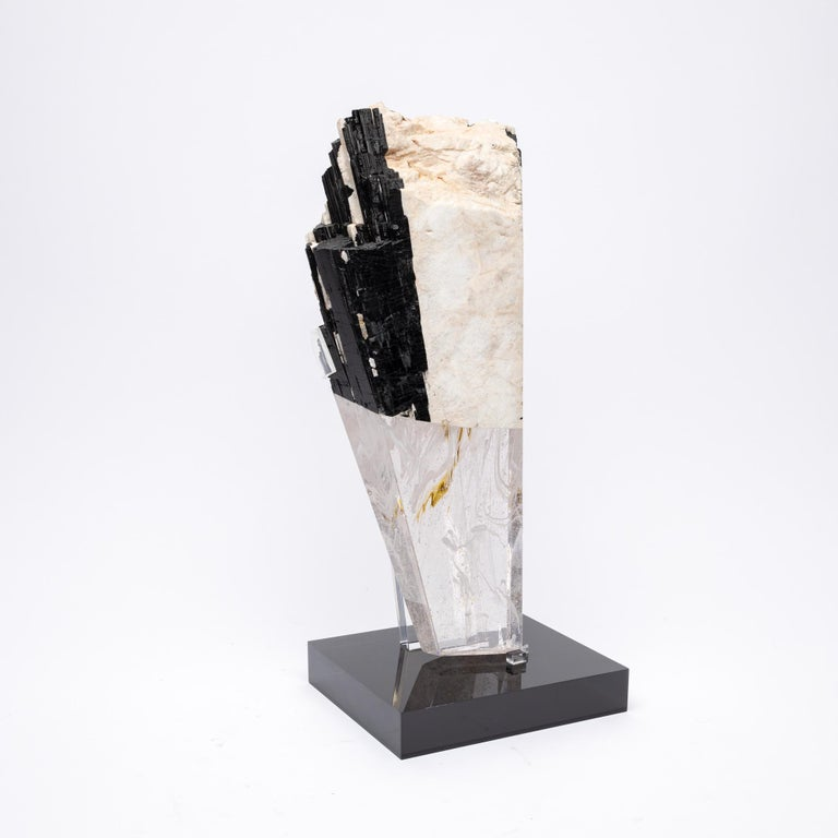 Deco, White Feldspar, Black Tourmaline and Glass Fusion Faceted Sculpture For Sale 1