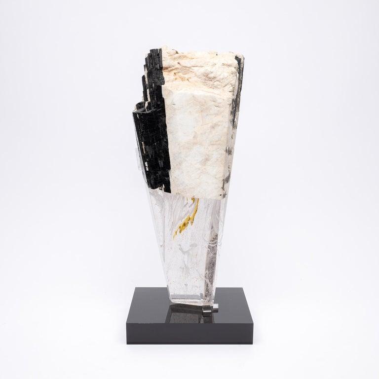 Deco, White Feldspar, Black Tourmaline and Glass Fusion Faceted Sculpture For Sale 2