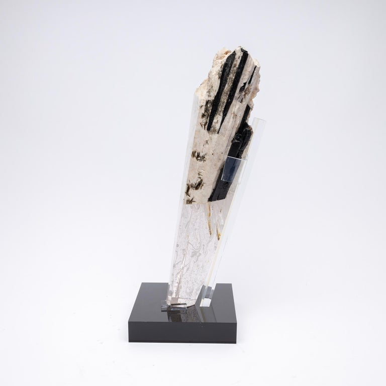 Deco, White Feldspar, Black Tourmaline and Glass Fusion Faceted Sculpture For Sale 3