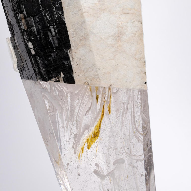 Deco, White Feldspar, Black Tourmaline and Glass Fusion Faceted Sculpture For Sale 4