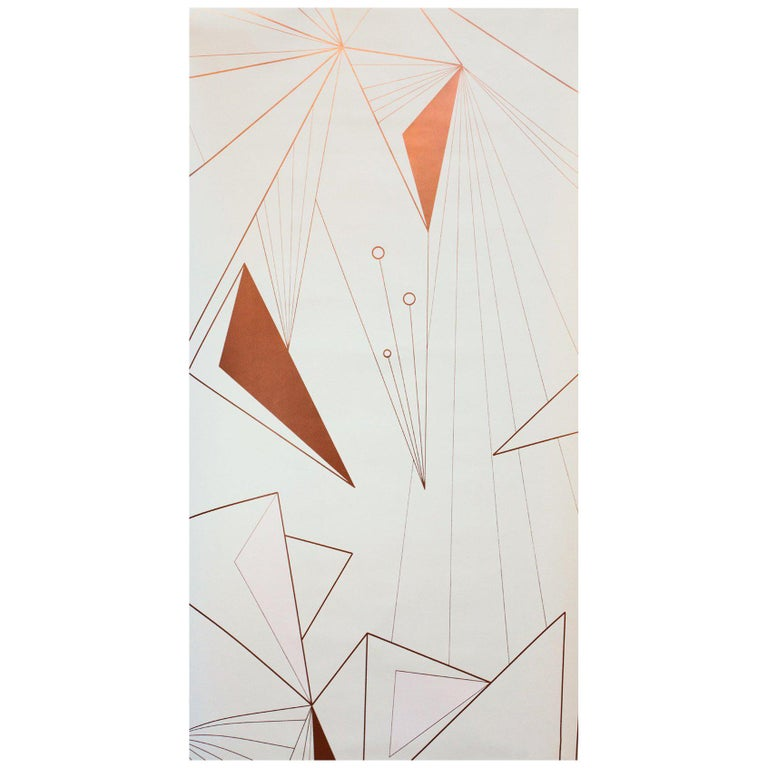 DecoPrism Screen Printed Metallic Copper Blush Wallpaper For Sale