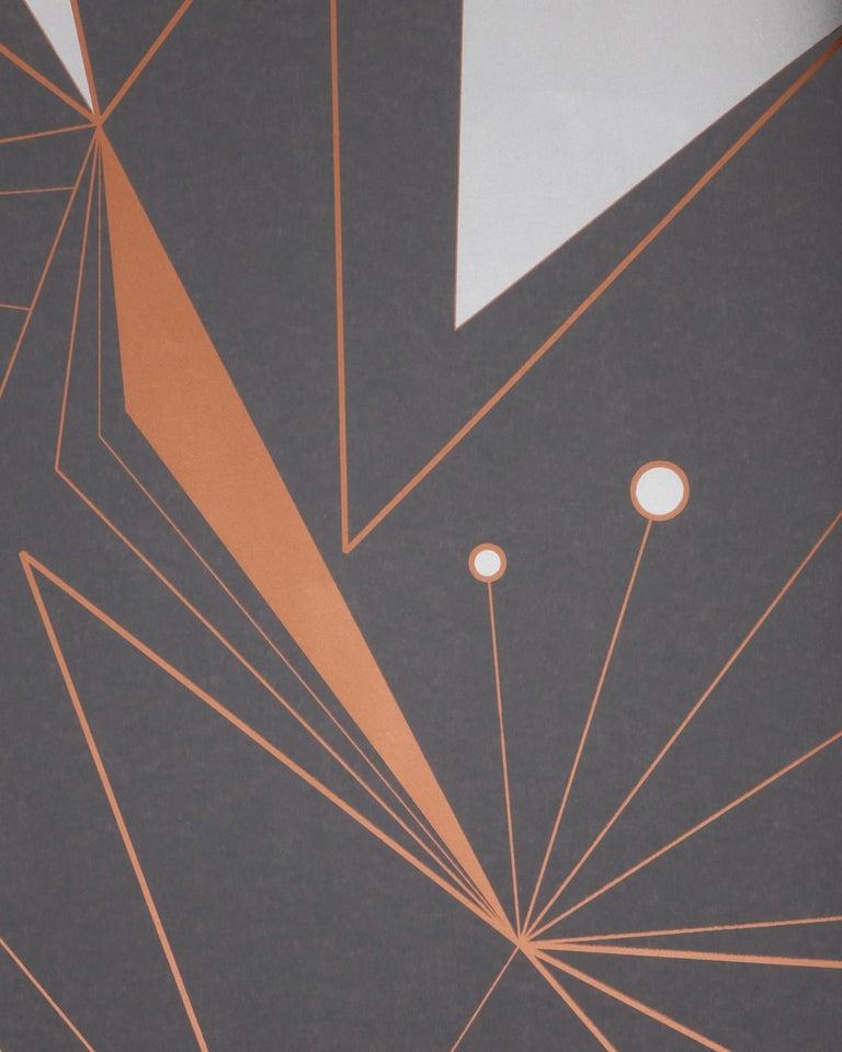 Modern Decoprism Screen Printed Metallic Copper, Bronze & Silver on Graphite Wallpaper For Sale