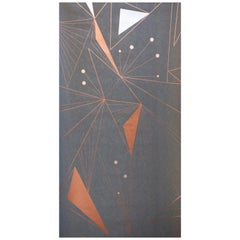 Decoprism Screen Printed Metallic Copper, Bronze & Silver on Graphite Wallpaper