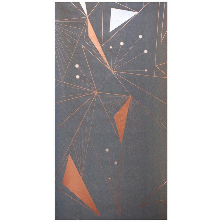 Decoprism Screen Printed Metallic Copper, Bronze & Silver on Graphite Wallpaper For Sale