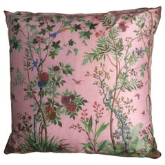 """Decor Chinois"" Silk Throw Pillow in Pink by Zuber"