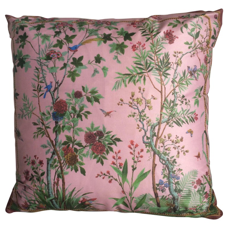 """""""Decor Chinois"""" Silk Throw Pillow in Pink by Zuber For Sale"""