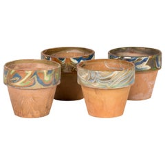 Decorated and Glazed Rim Pots from 1960s, England