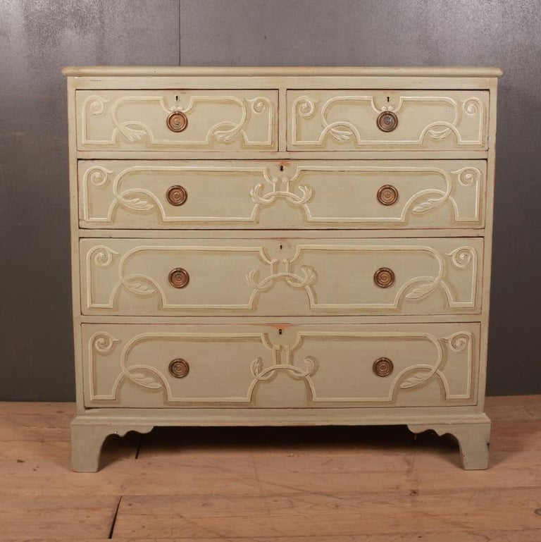 Good early 19th century decorated pine chest of drawers. Later paint. 1820