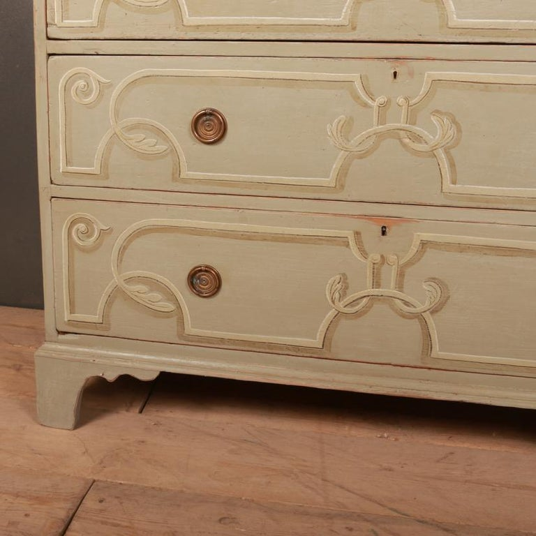 George III Decorated Chest of Drawers For Sale