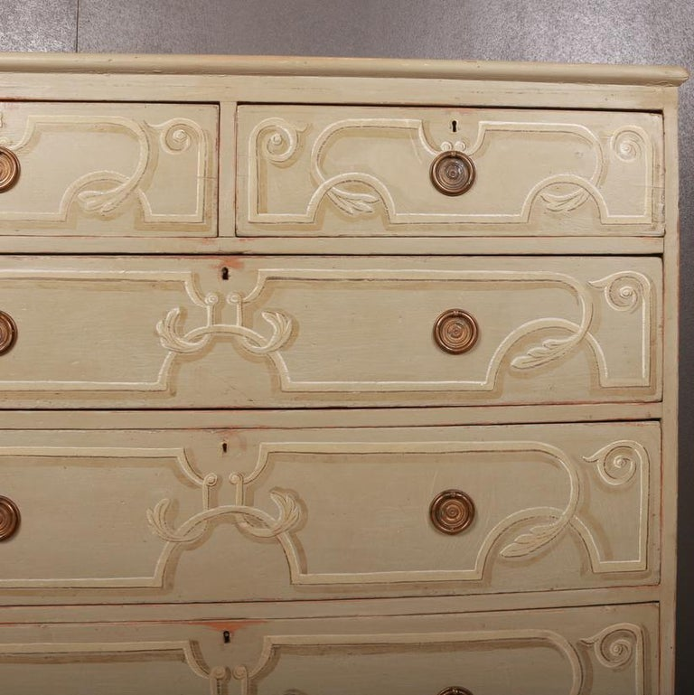 English Decorated Chest of Drawers For Sale
