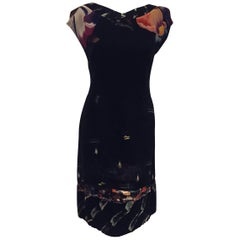 Decorated Dries Van Noten Black with Floral Accents Dress