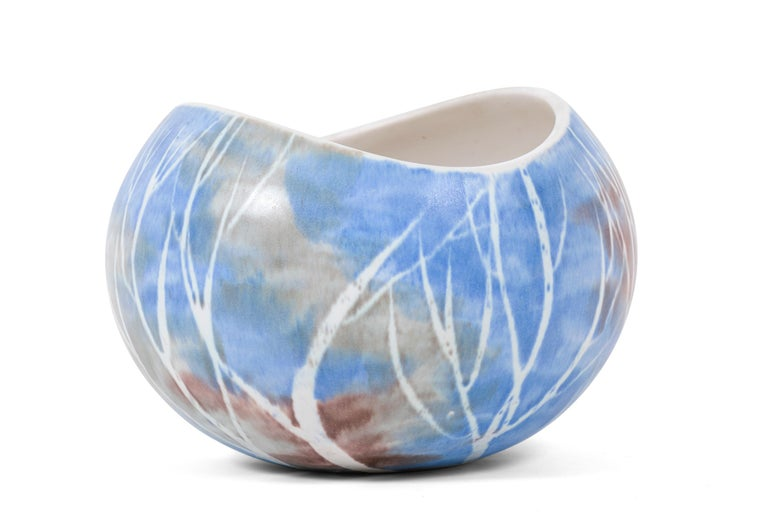Mid-Century Modern Mid-Century Birch Tree Pattern Pottery Bowl by Anderson Design of Maine, 1960s For Sale