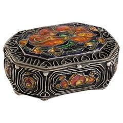 Elizabeth Copeland Enamel Poppies Silver Jewelry Box