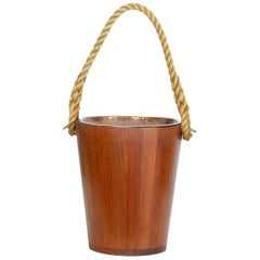Decorative 20th Century Teak Bucket with Rope Handle