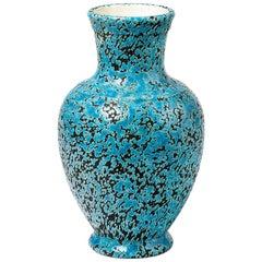 Decorative and Precious Midcentury Ceramic Blue Vase Dated 1965