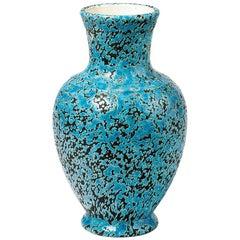 Decorative and Precious Midcentury Ceramic Blue Vase, Dated 1965