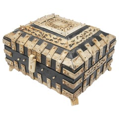 Decorative Anglo-Indian Bone Overlay Footed Box