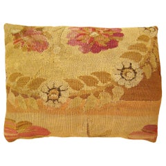 Decorative Antique Bessarabian Carpet Pillow, with Green Floral Brocade Backing