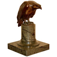 Decorative, Antique Bronze Sculpture of an Eagle, on a Marble Base