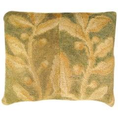 Decorative Antique European Savonnerie Carpet Pillow with Floral Design