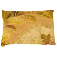 Decorative Antique French Aubusson Carpet Pillow
