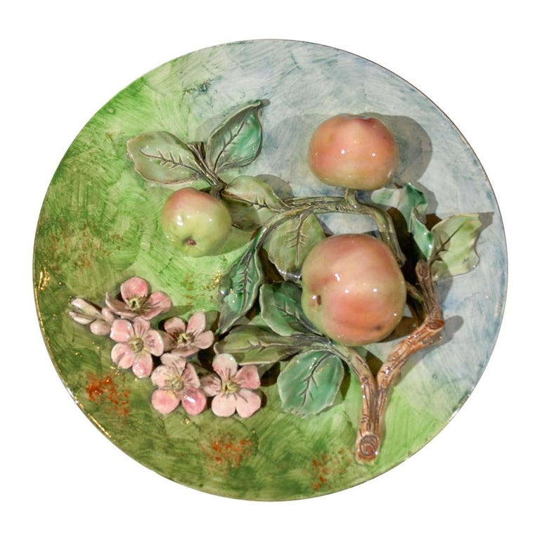 Decorative Antique Longchamp Majolica Plate with Apples & Flowers, circa 1880 For Sale