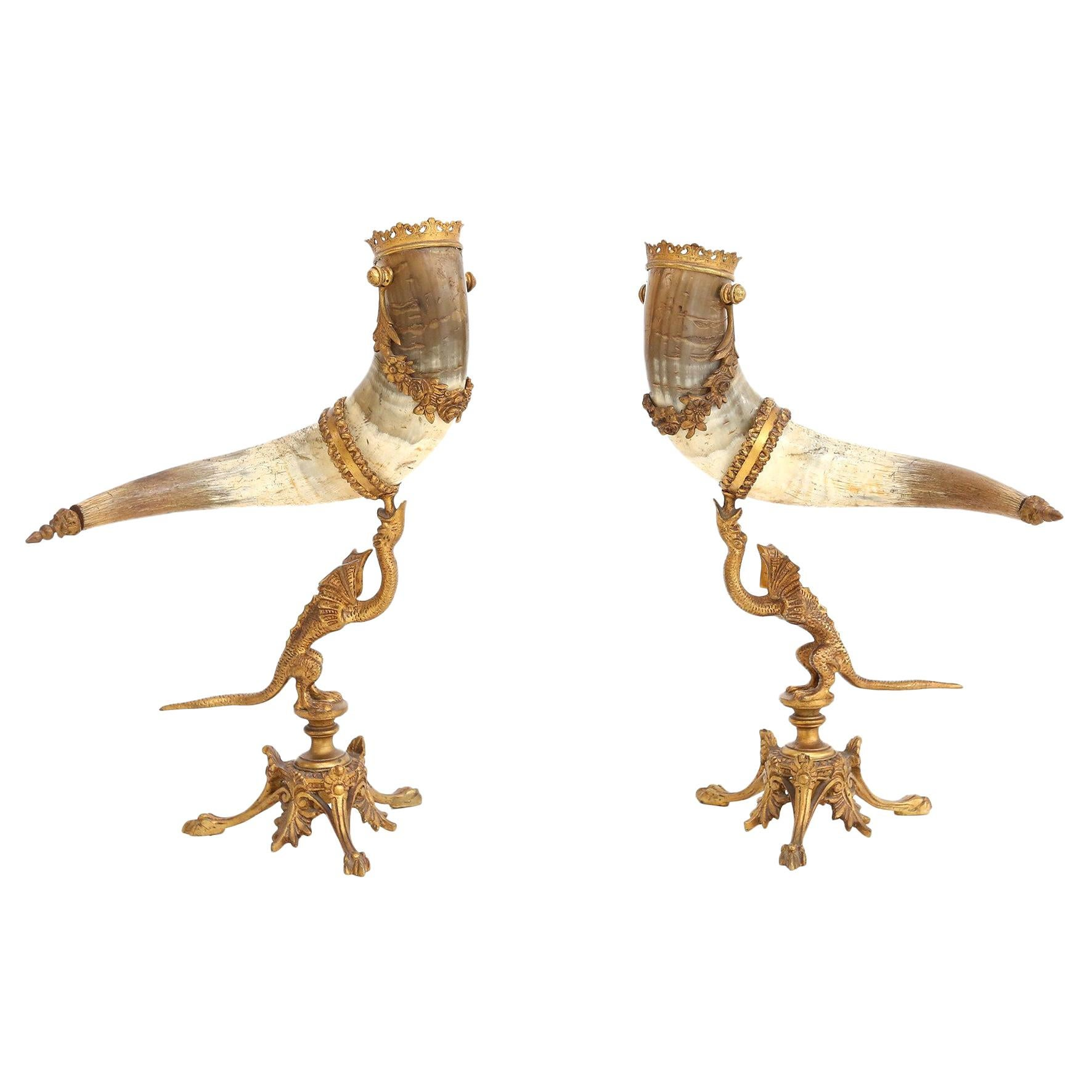 Decorative Antique Pair of Mounted Horns