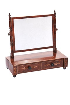 Decorative Antique Regency Hardwood Inlaid Dressing Mirror