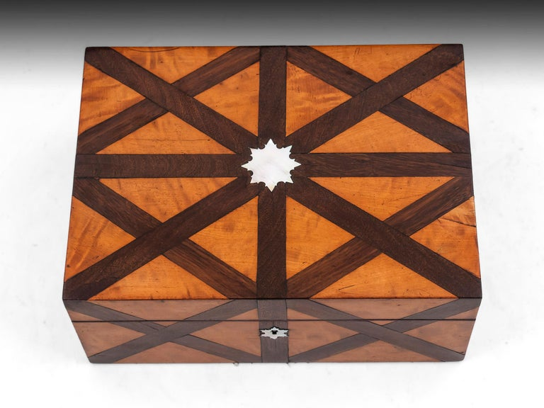 British Decorative Antique Satinwood Mahogany Mother of Pearl Jewelry Box 19th Century For Sale