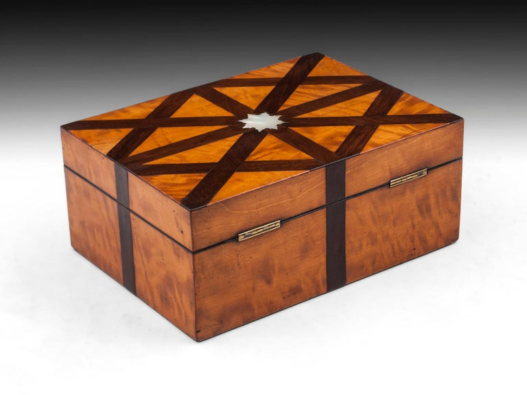 Mother-of-Pearl Decorative Antique Satinwood Mahogany Mother of Pearl Jewelry Box 19th Century For Sale