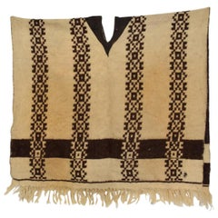 Decorative Antique Wool Serape Blanket, Mexican