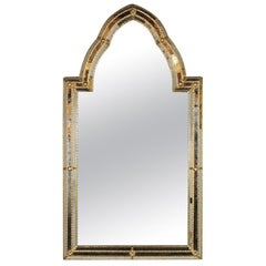 Decorative Arched Top Venetian Style Ornate Mirror with Gilt Brass Accents