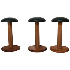Decorative Art Deco Stools Wood and Leather Set of Three