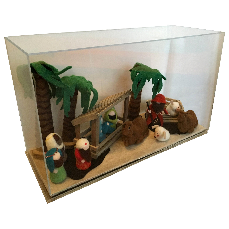 Decorative Art Felt Nativity Scene Enclosed in Lucite by AMK for Patricia Kagan