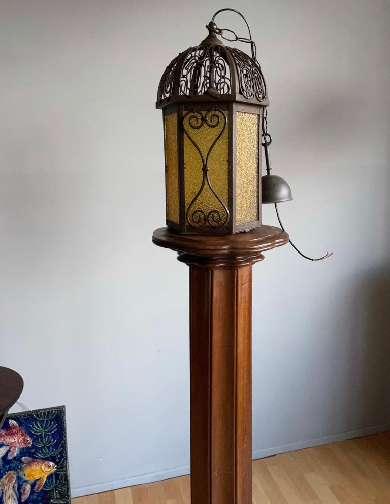 Arts and Crafts Wrought Iron Pendant Light with Cathedral Glass Lantern For Sale 5