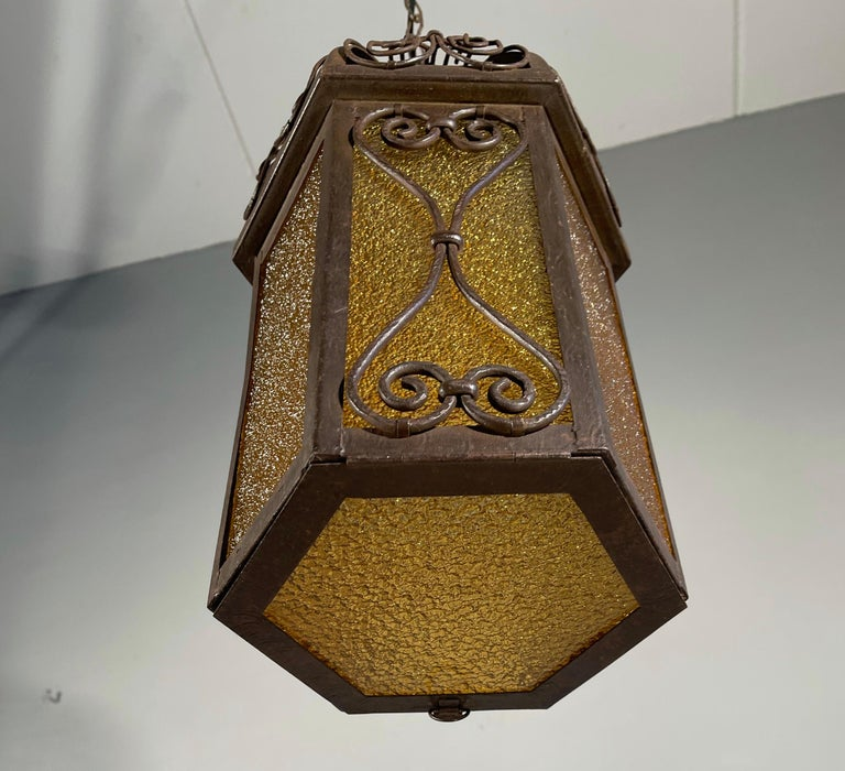 Arts and Crafts Wrought Iron Pendant Light with Cathedral Glass Lantern For Sale 7