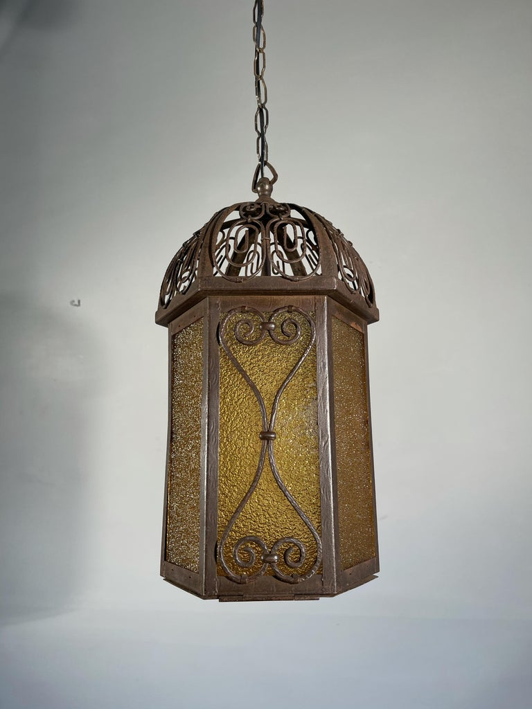 Arts and Crafts Wrought Iron Pendant Light with Cathedral Glass Lantern For Sale 12