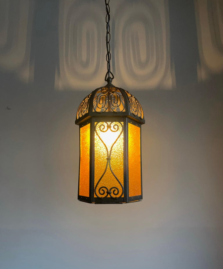 Arts and Crafts Wrought Iron Pendant Light with Cathedral Glass Lantern For Sale 13