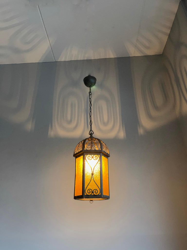 Rare and finely handcrafted, antique hallway lantern.  This beautifully executed light fixture from the earliest years of the 1900s will look particularly well in the entry hall of an Arts & Crafts (inspired) interior. All handcrafted out of natural
